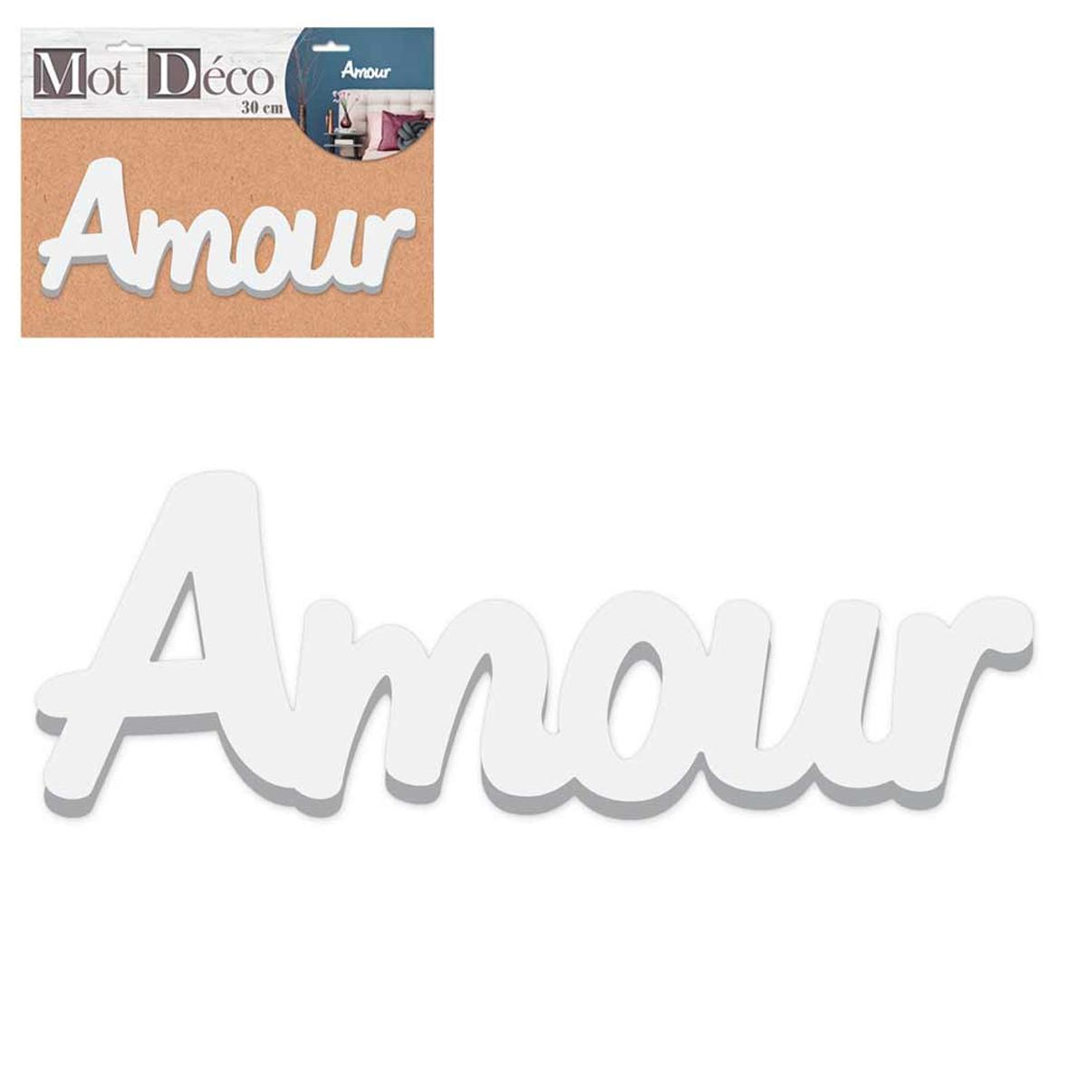Mot Déco bois 3D \'Amour\' blanc - 30x135x15 cm - [R2266]