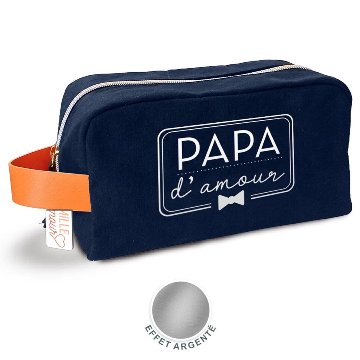 Trousse de toilette créateur \'Papa d\'amour\' marine - 22x12x10 cm - [A1861]