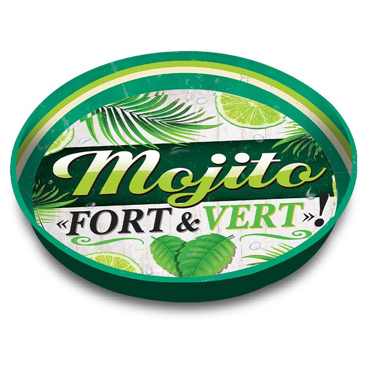 Plateau rond métal \'Messages\' (Mojito fort et vert) - 33 cm - [A1864]