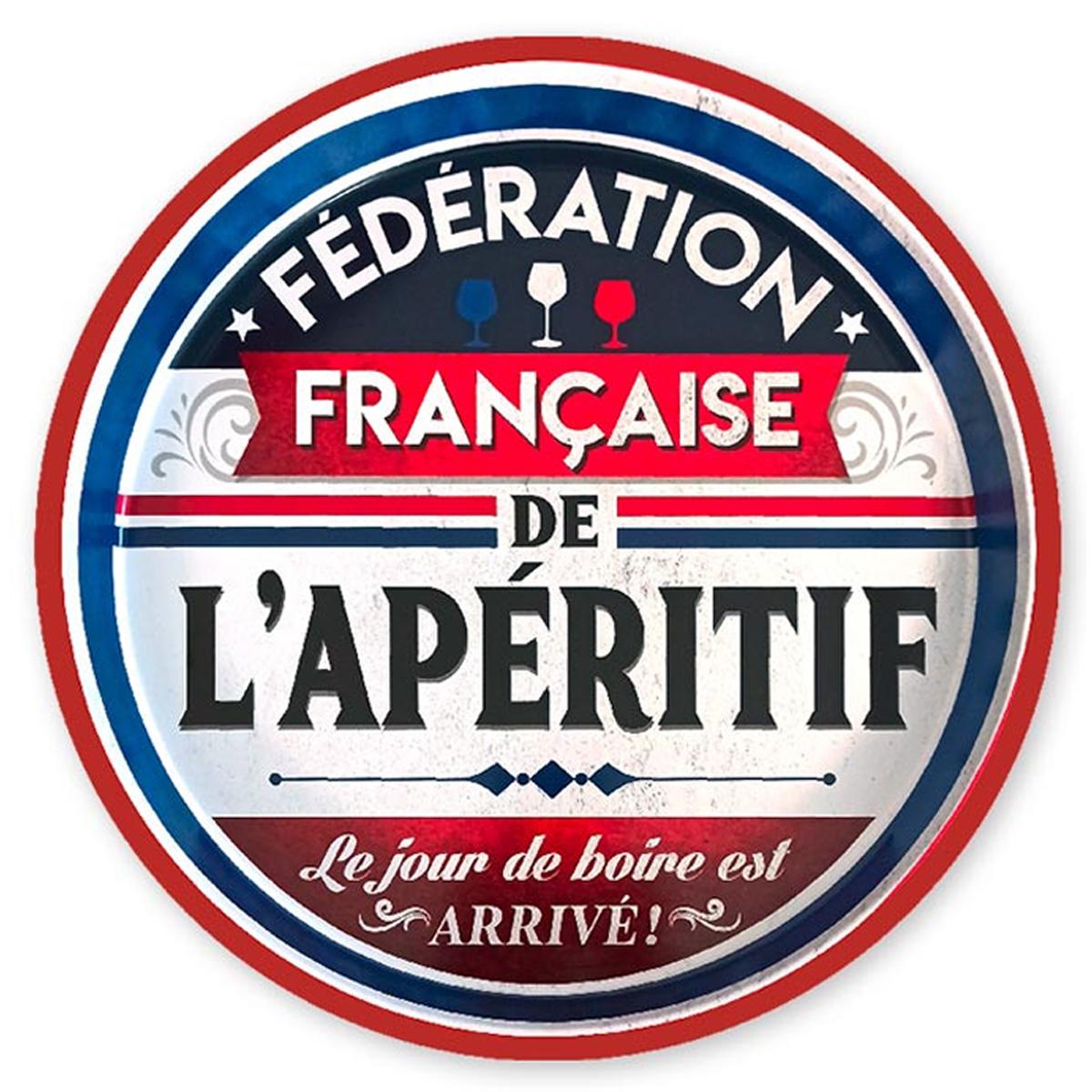 Plateau rond métal \'Messages\' (Fédération française de l\'Apéritif) - 33 cm - [A1868]