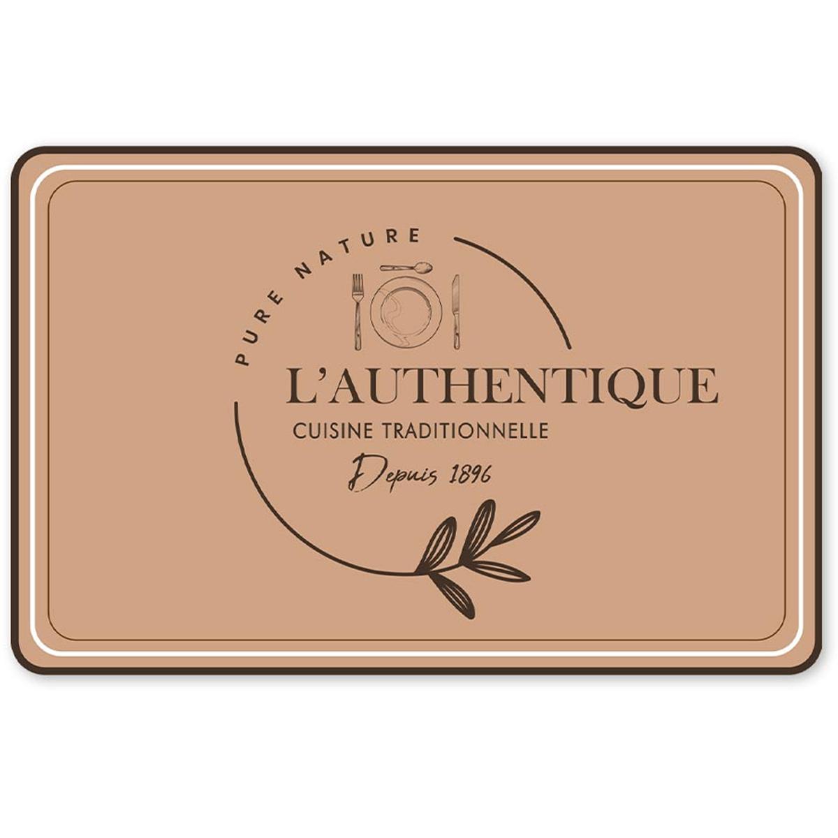 Set de table \'L\'Authentique Cuisine Traditionnelle\' marron - 43x28 cm - [A1895]