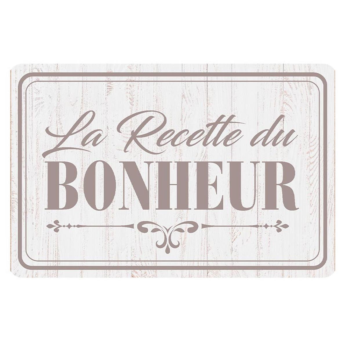 Set de table \'La Recette du Bonheur\' gris - 43x28 cm - [A1896]