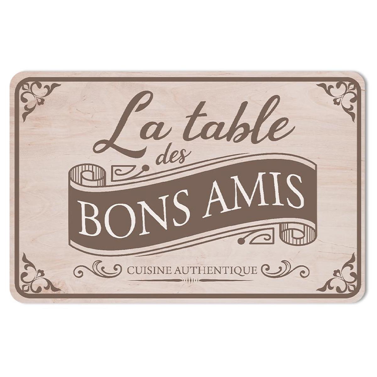 Set de table \'La table des Bons Amis\' taupe - 43x28 cm - [A1905]