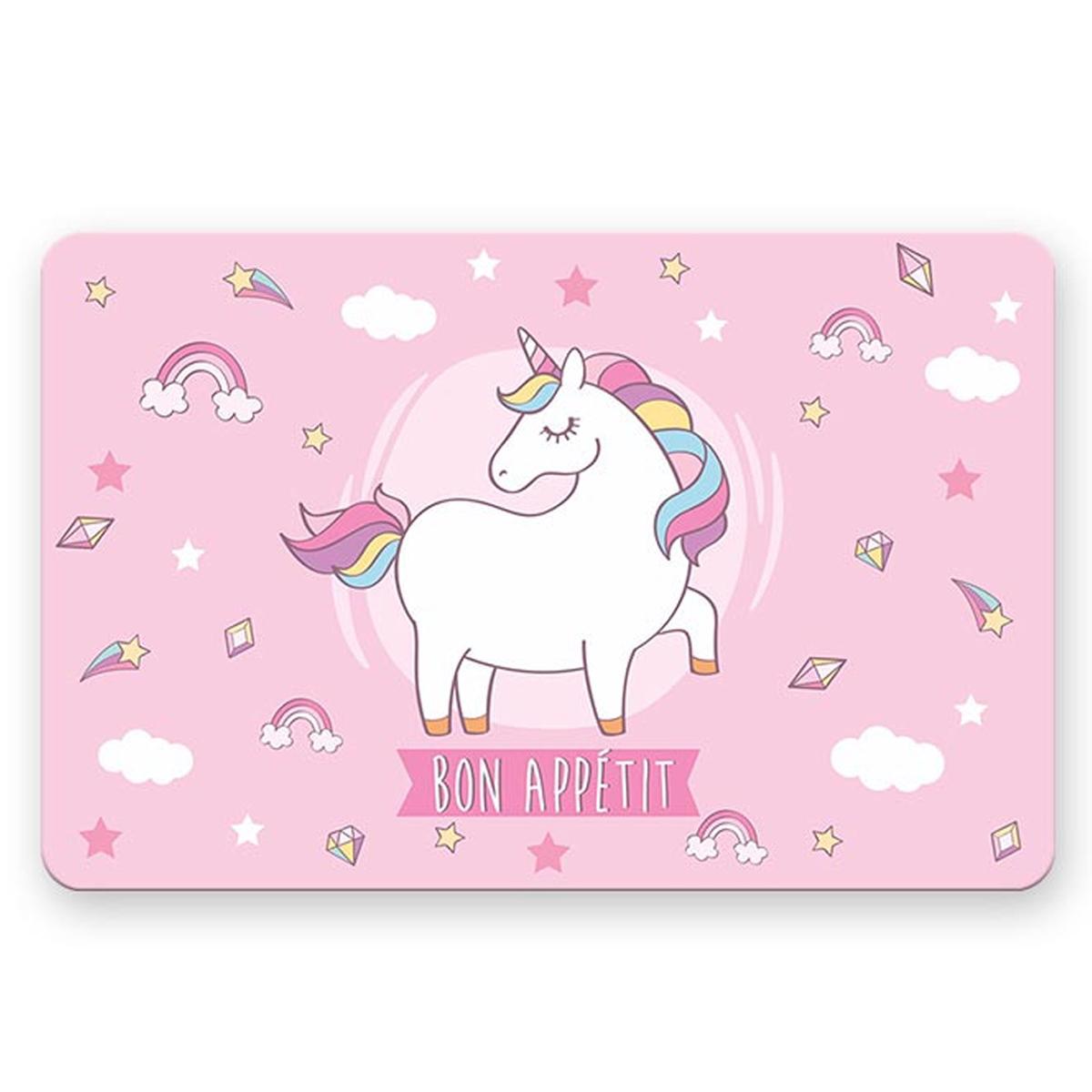 Set de table \'Licorne My Unicorn\' rose - 43x28 cm - [A1906]