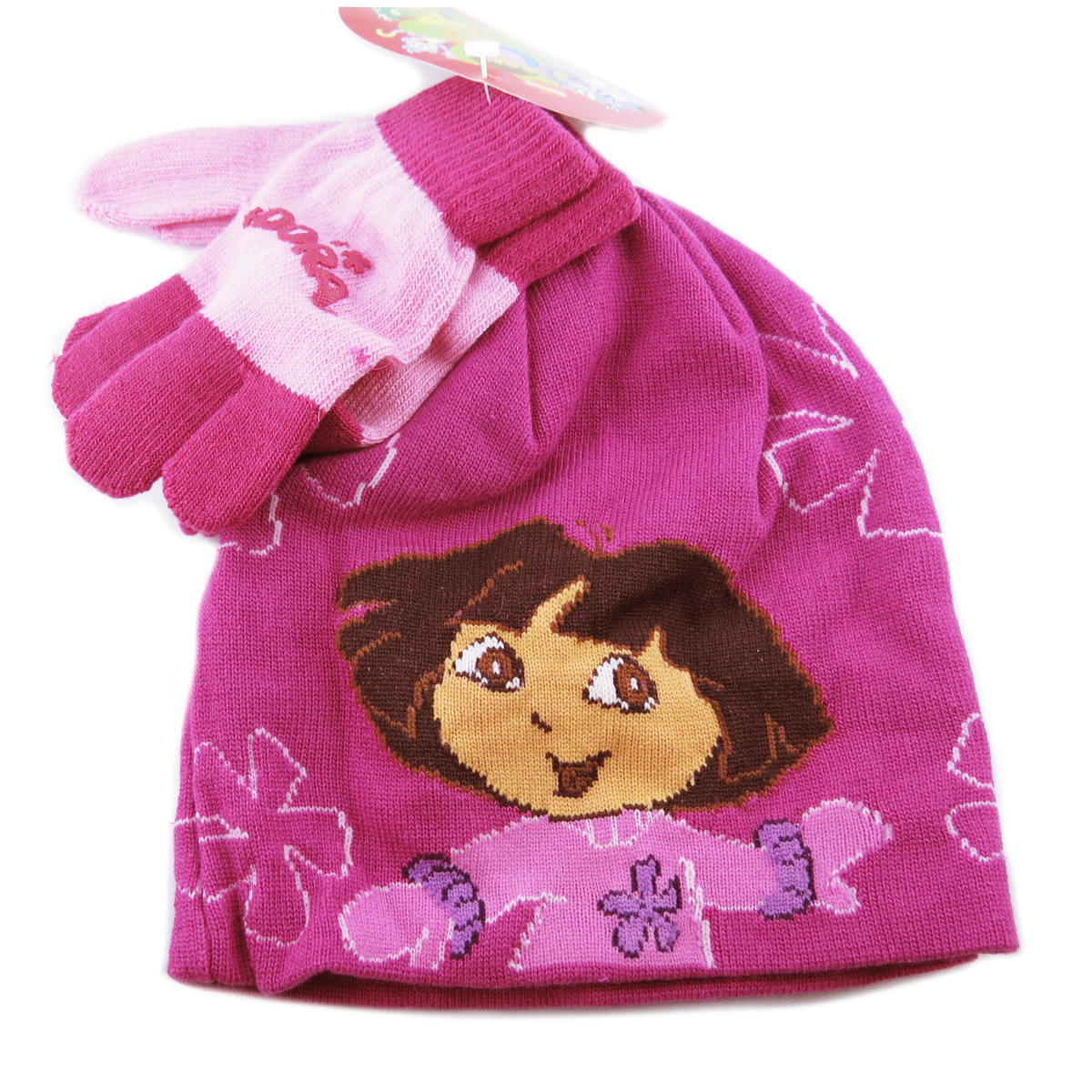 Ensemble gants et bonnet \'Dora l\'Exploratrice\' rose violet - taille unique - [C1621]