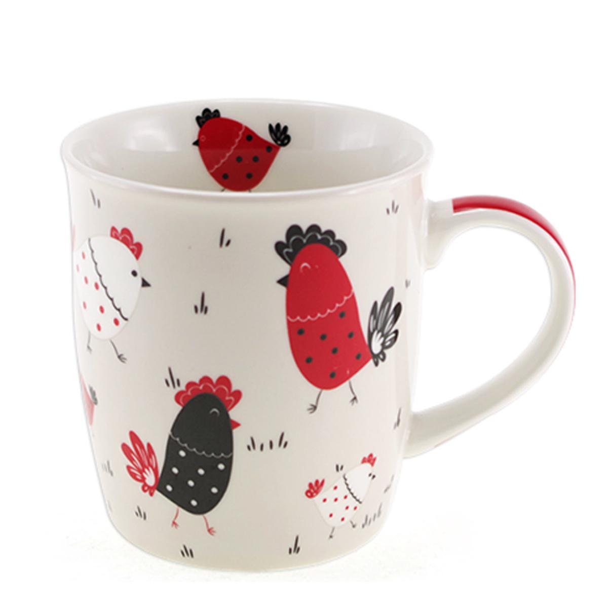 Mug porcelaine \'Poules\' ivoire doré - 95x85 cm (325 cl) - [A0264]