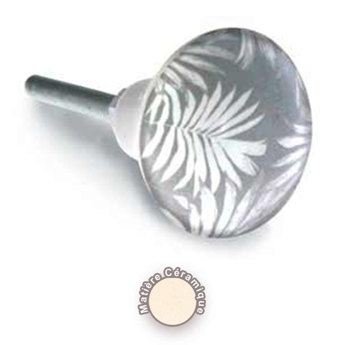 Bouton meuble céramique \'Feuille\' gris - 65x35 mm - [A0398]