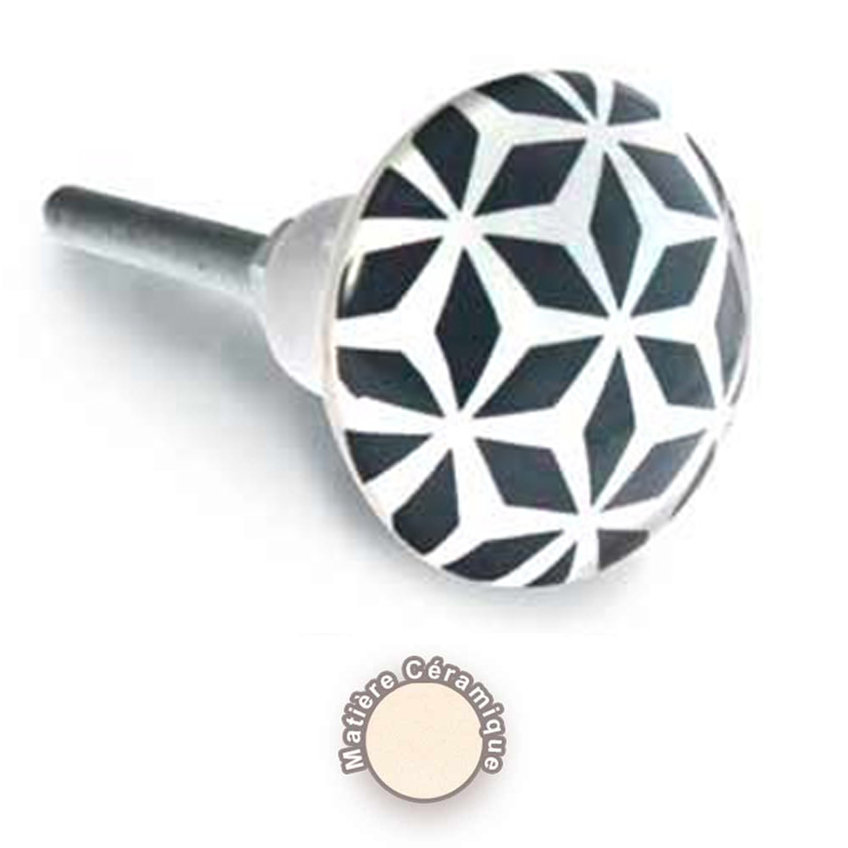 Bouton meuble céramique \'Boho\' noir blanc - 65x35 mm - [A0399]