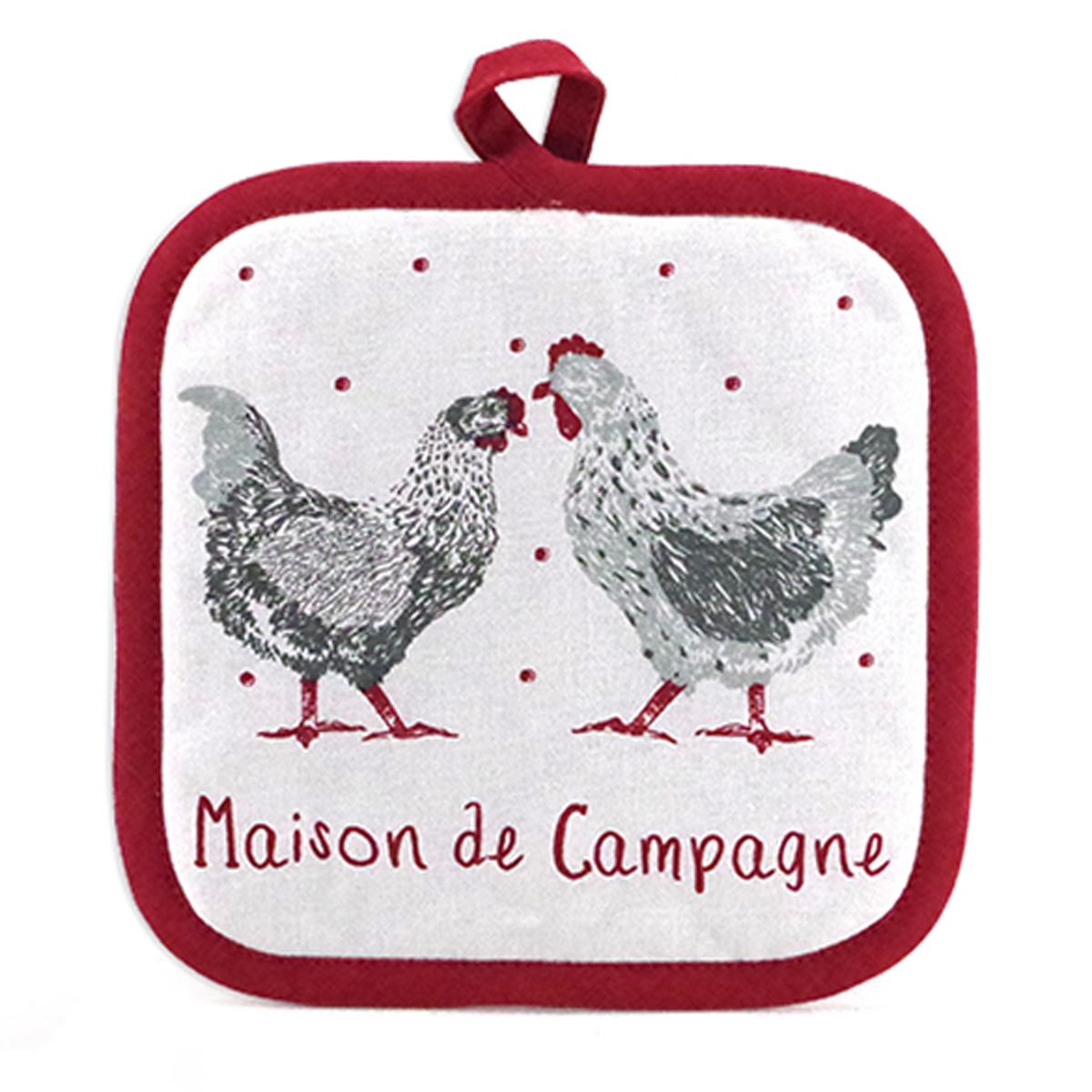 Manique coton \'Poules\' rouge blanc gris (maison de campagne) - 20x20 cm - [A1107]