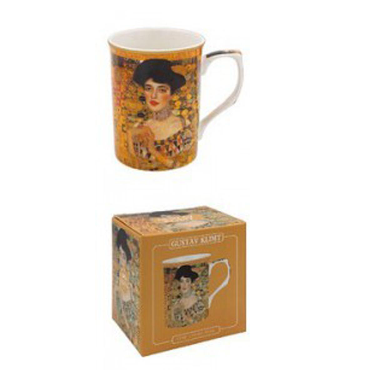Mug porcelaine \'Gustav Klimt\' marron (Adèle) - 10x75 cm - [A1255]