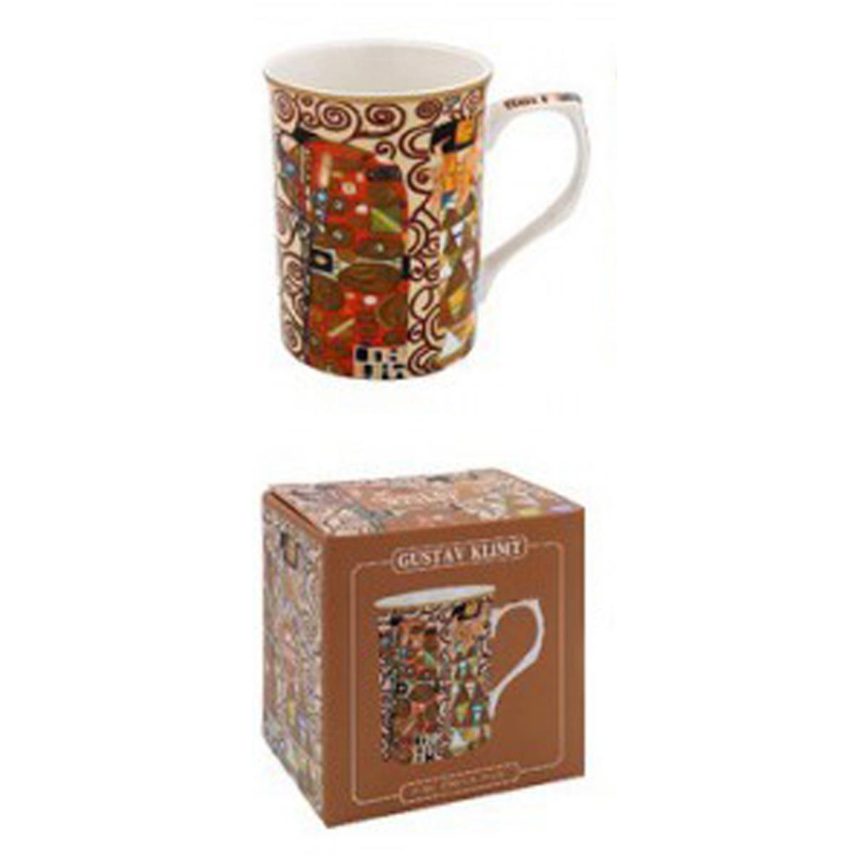 Mug porcelaine \'Gustav Klimt\' marron (l\'Amour) - 10x75 cm - [A1256]
