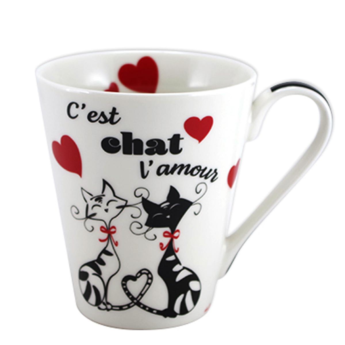 Mug porcelaine \'Chats\' rouge noir blanc (c\'est chat l\'amour) - 10x85 cm (325 cl) - [A1910]