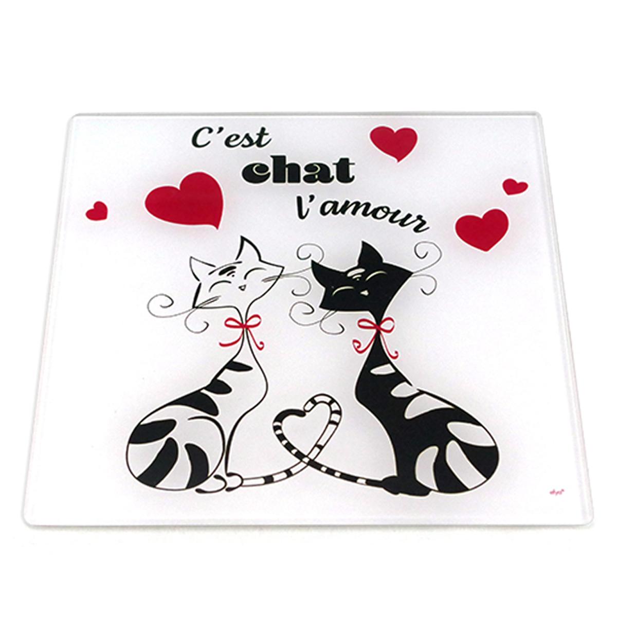 Dessous de plat verre \'Chats\' rouge noir blanc (C\'est chat l\'amour) - 20x20 cm - [A1913]