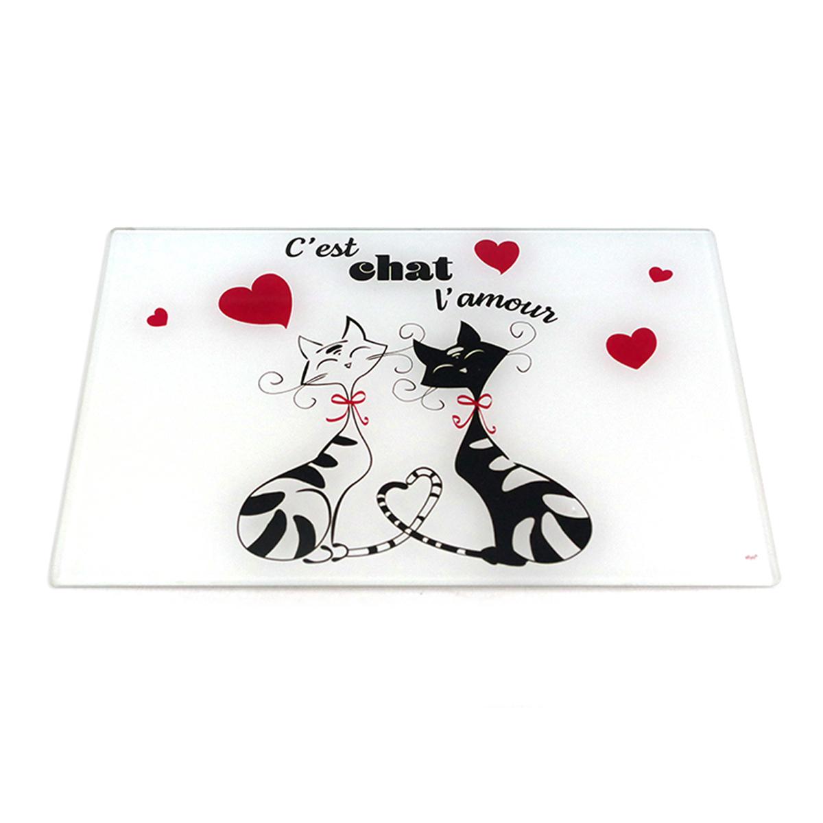 Planche à découpe / dessous de plat verre  \'Chats\' rouge noir blanc (C\'est chat l\'amour) - 30x20 cm - [A1914]