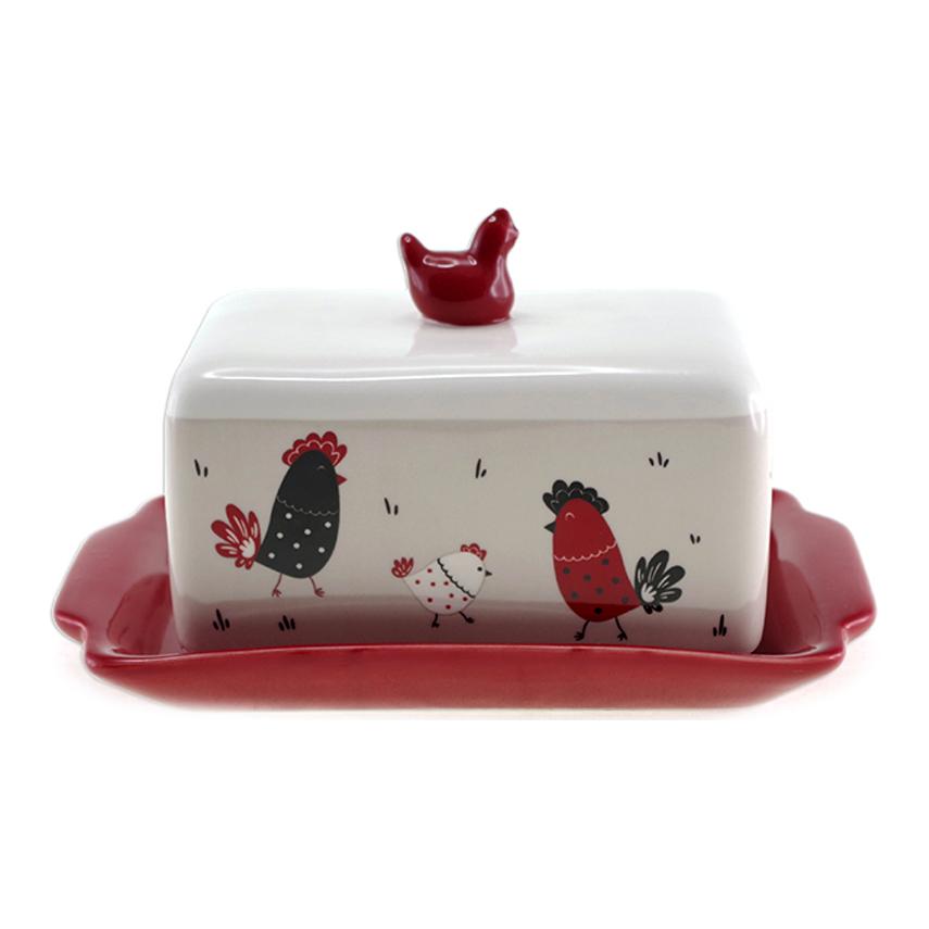 Beurrier céramique \'Poules\' taupe rouge - 18x11x8 cm - [A1919]