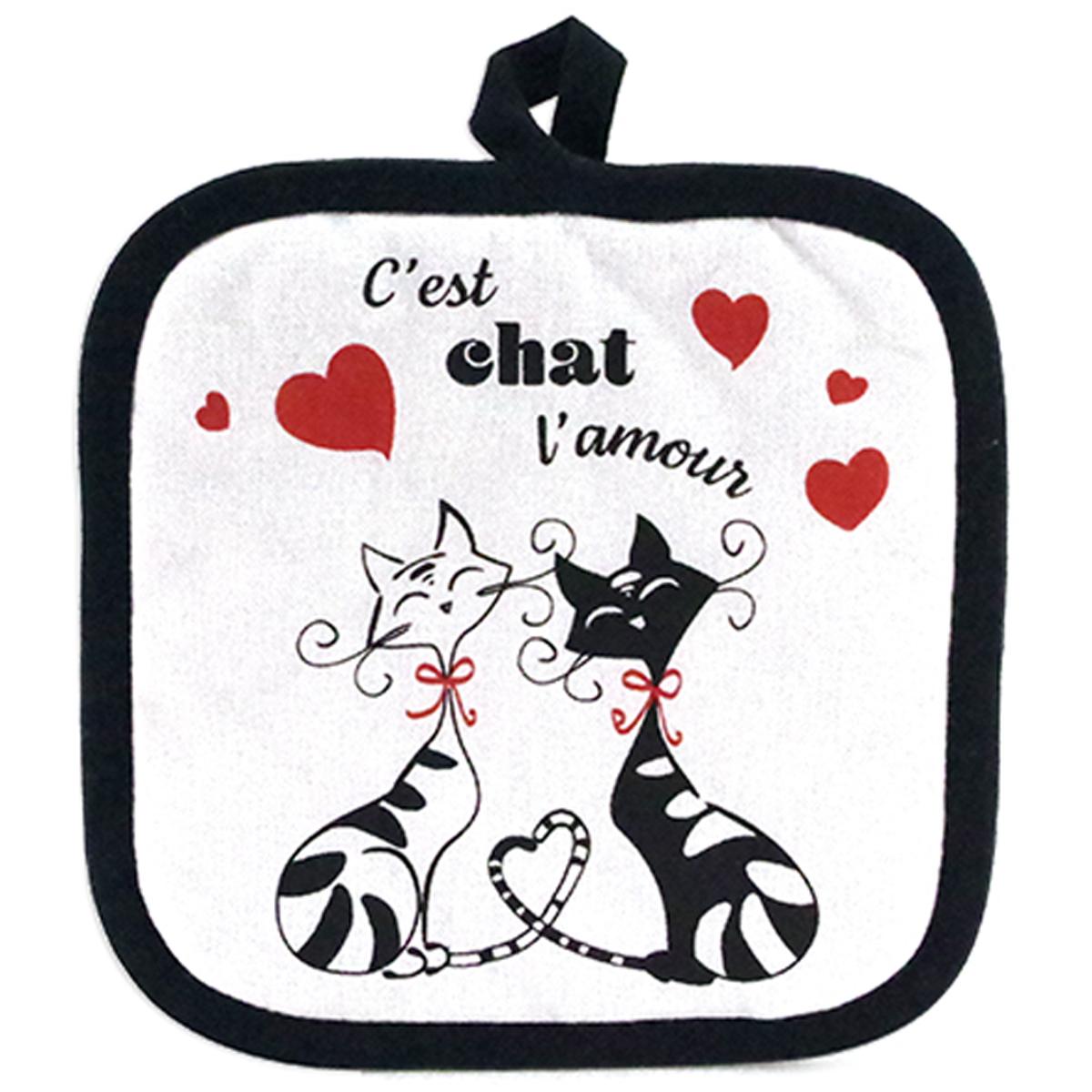 Manique coton \'Chats\' noir rouge blanc (C\'est chat l\'amour) - 20x20 cm - [A1921]