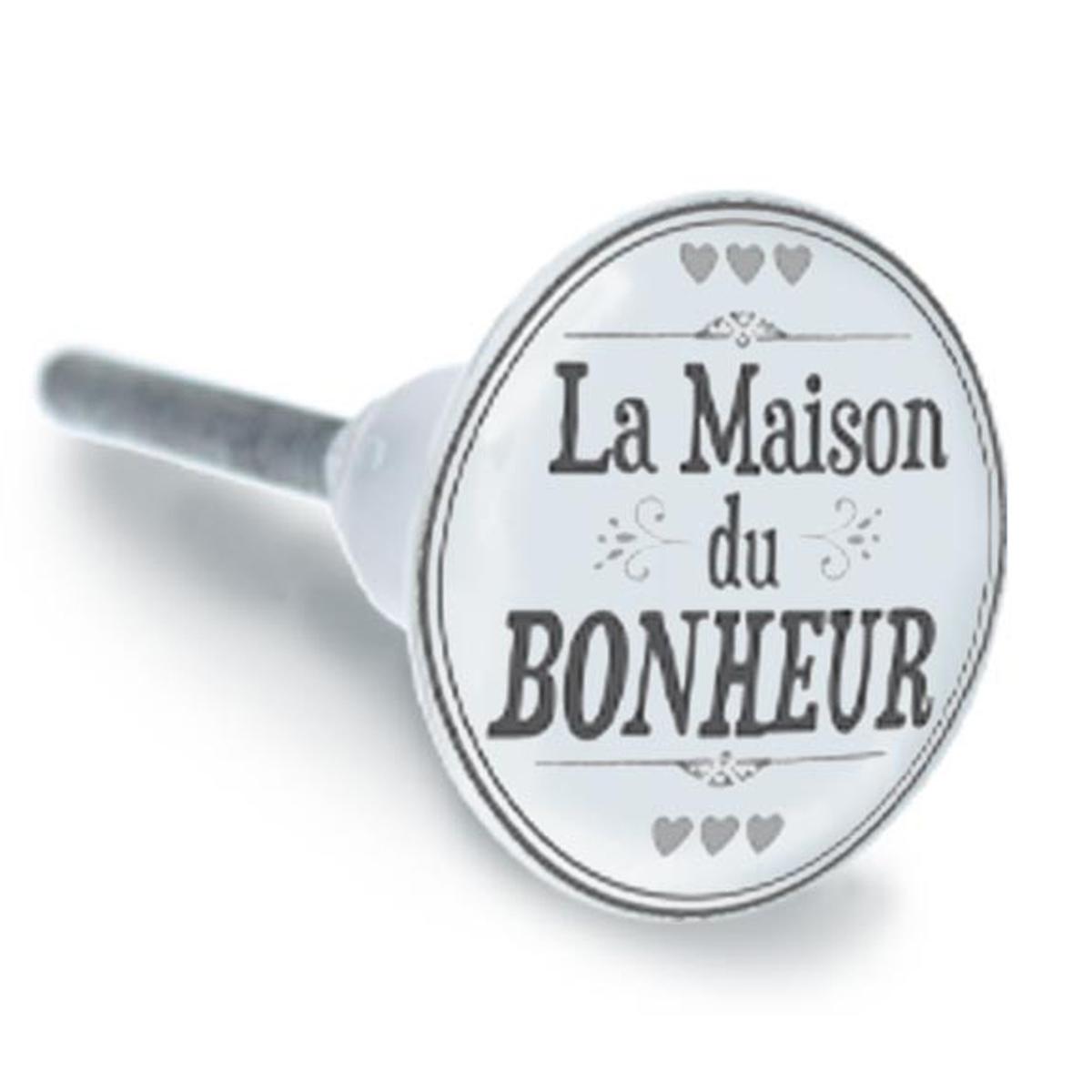 Bouton meuble céramique \'La Maison du Bonheur\' gris blanc - 65x35 mm - [A1931]