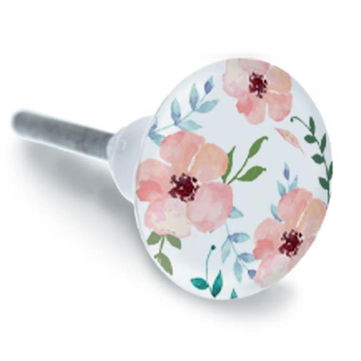 Bouton meuble céramique \'Floralies\' rose - 65x35 mm - [A1932]