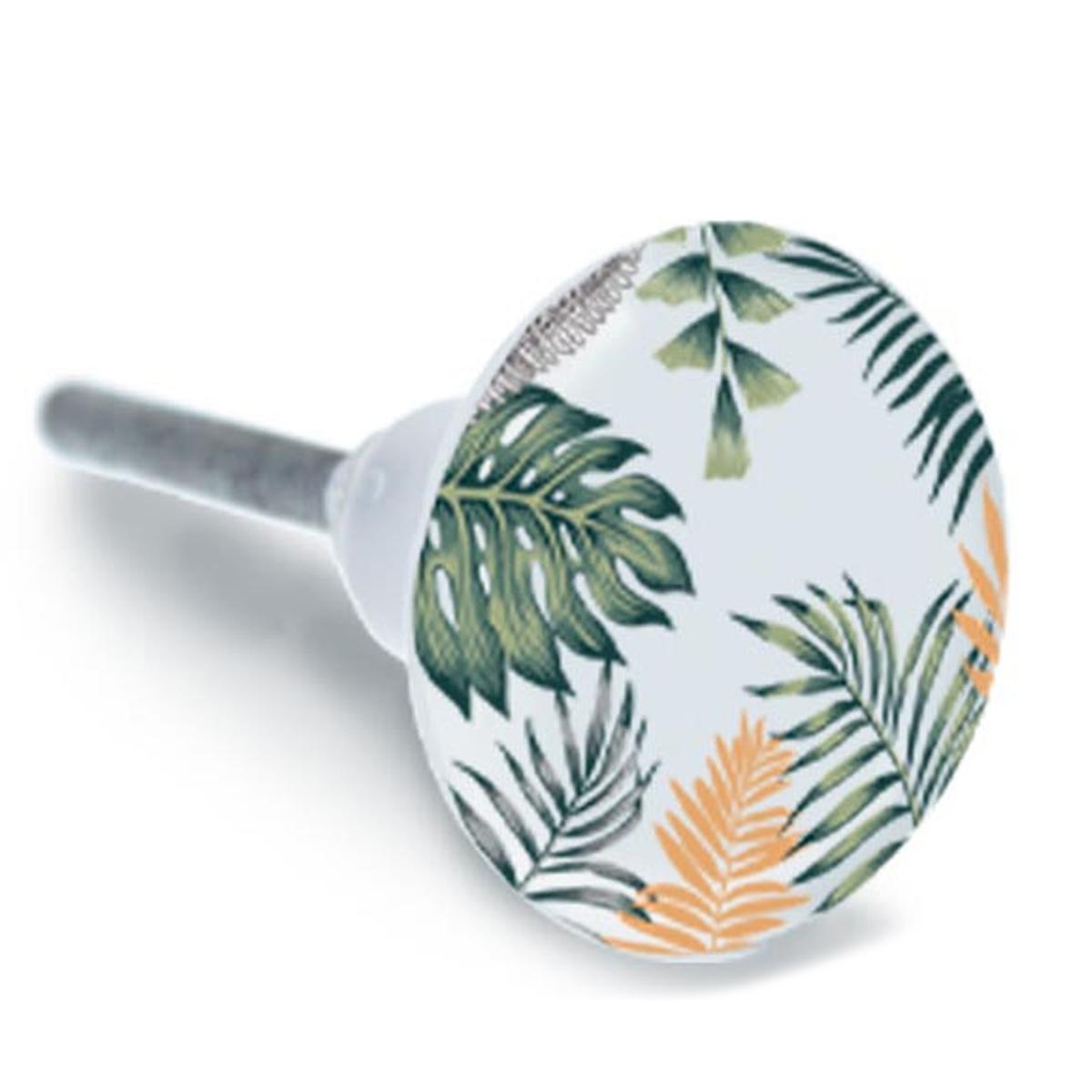 Bouton meuble céramique \'Tropical\' vert jaune - 65x35 mm - [A1934]