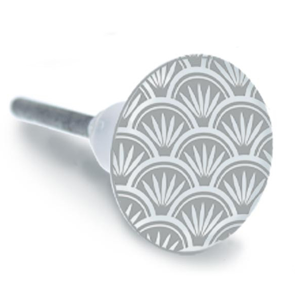 Bouton meuble céramique \'Boho\' gris - 65x35 mm - [A1936]