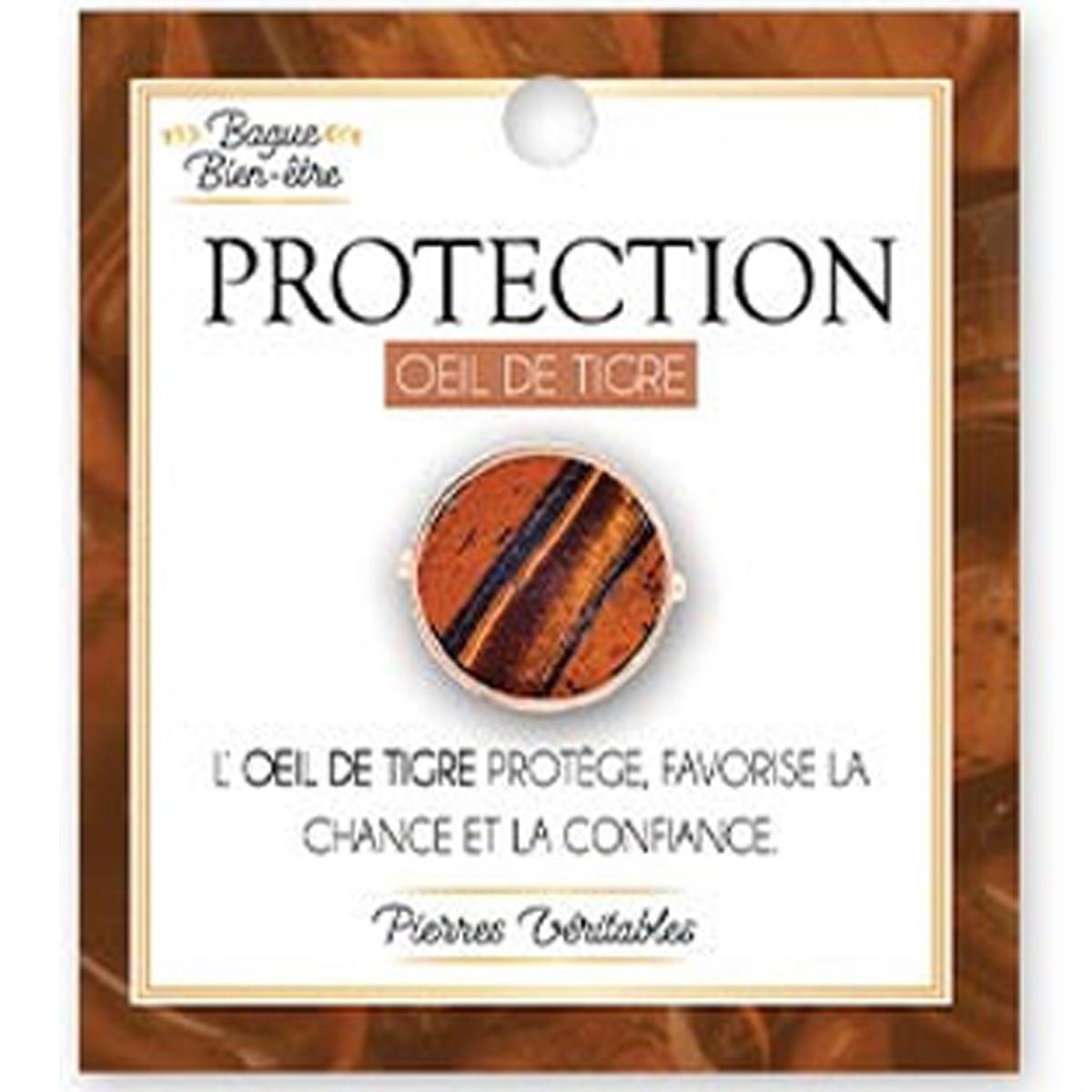Bague bien-être \'Minéralia\' marron (Oeil de Tigre - Protection) - 15 mm - [A1943]