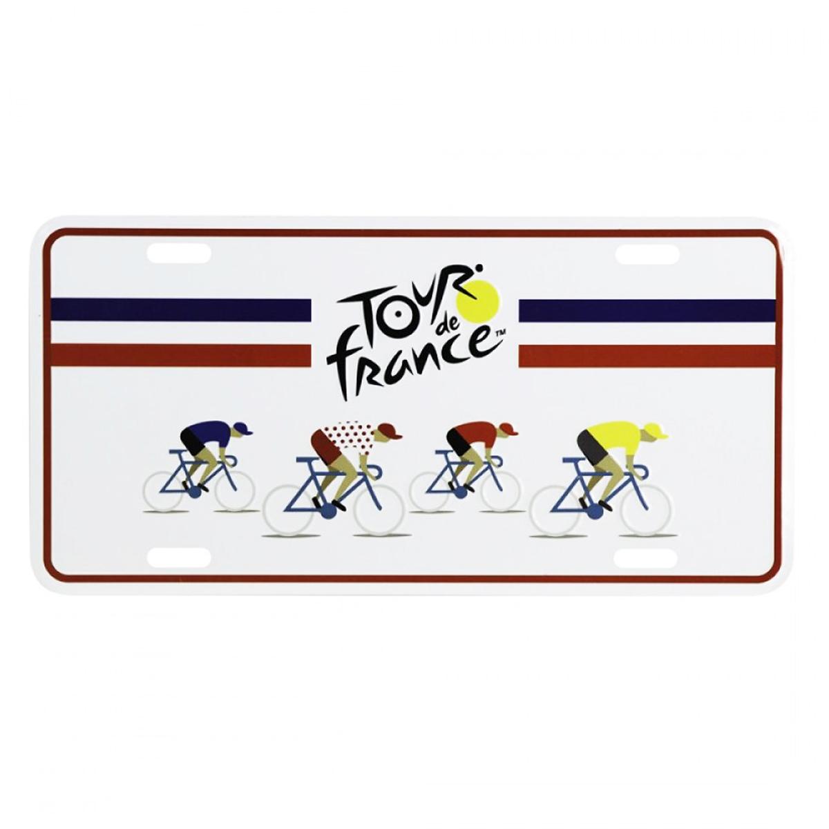 Plaque métal \'Tour de France\' bleu blanc rouge - 30x15 cm - [A1952]