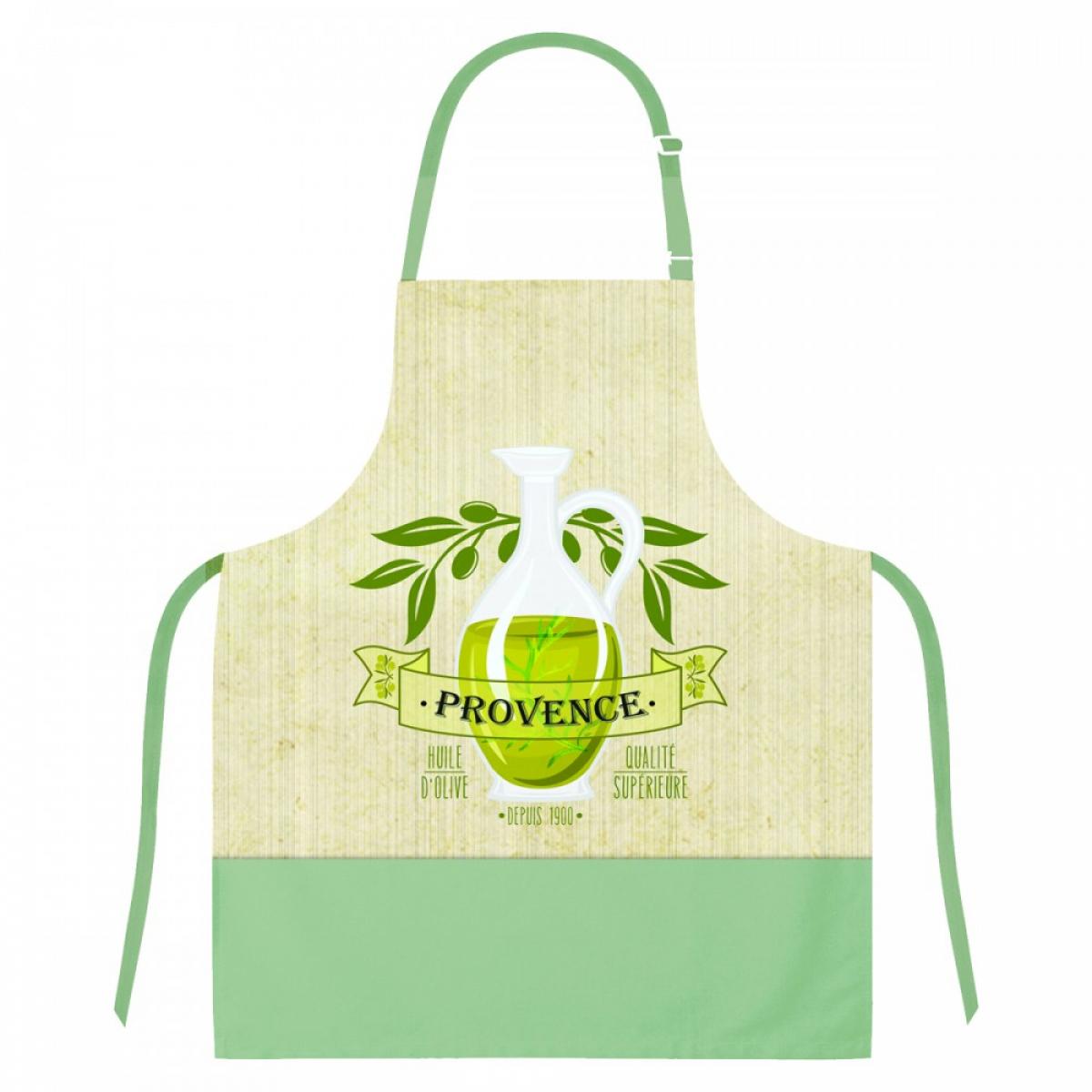 Tablier créateur coton \'Provence\' vert beige (olive) - 79x70 cm - [A1956]