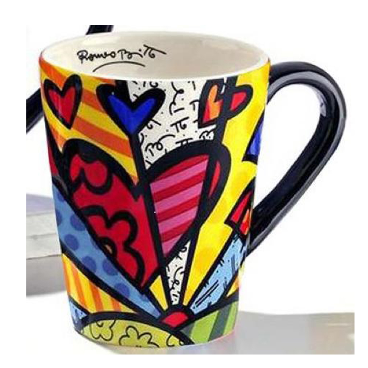Mug créateur céramique \'Britto\' multicolore (coeur) - 11 cm - [A1958]