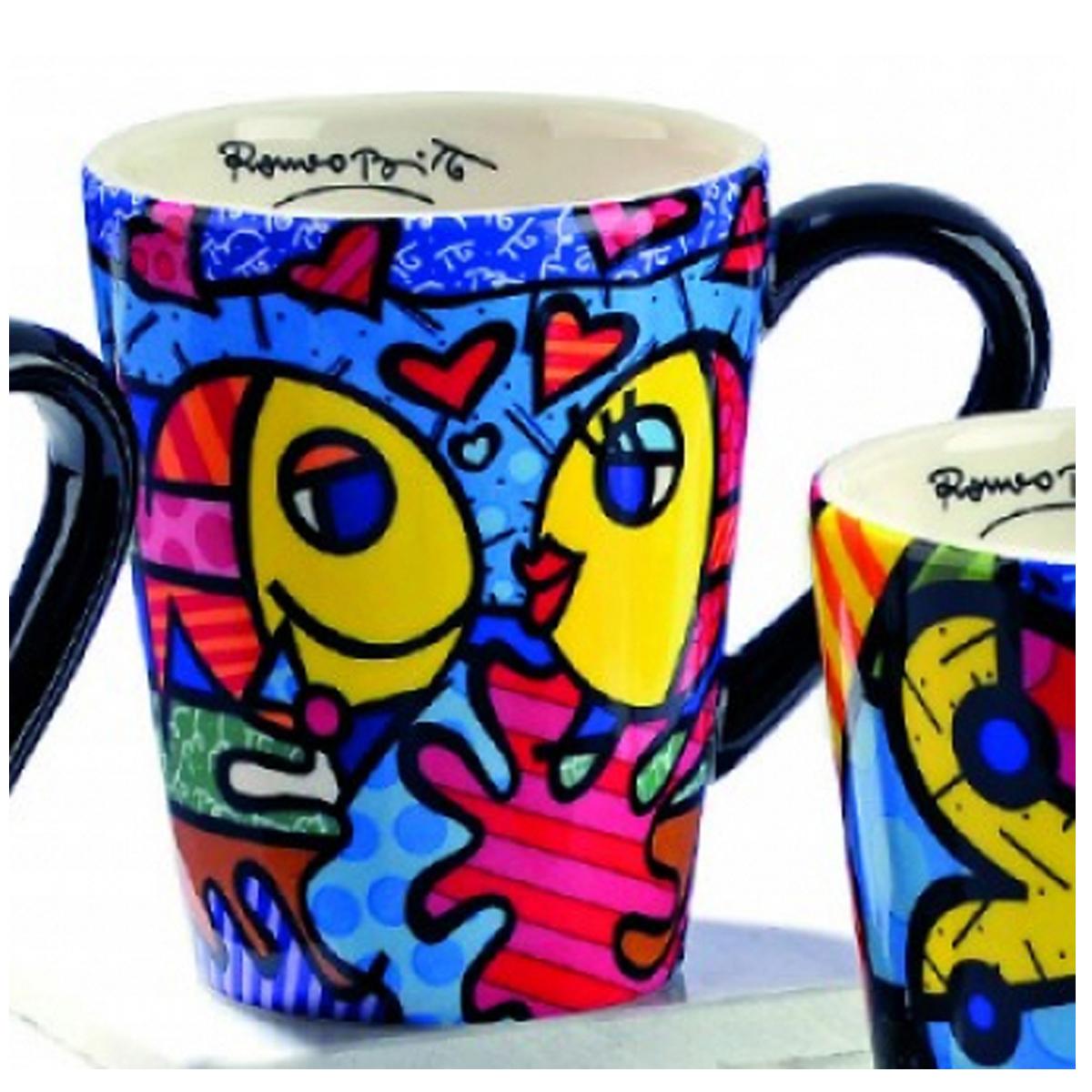 Mug créateur céramique \'Britto\' multicolore (poisson kiss) - 11 cm - [A1959]