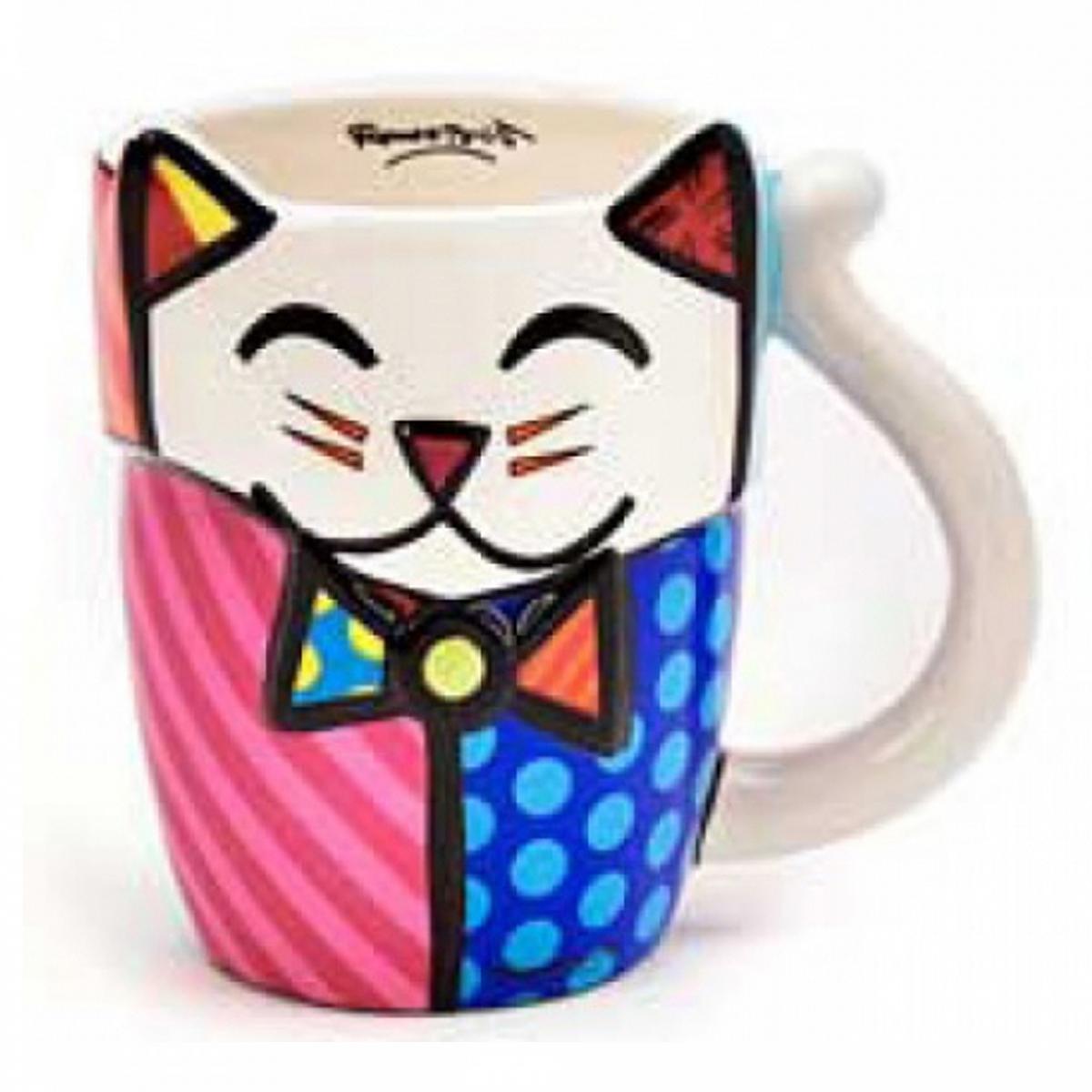 Mug créateur céramique \'Britto\' multicolore (chat) - 11 cm - [A1961]