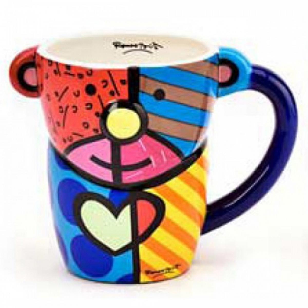 Mug créateur céramique \'Britto\' multicolore (chien) - 11 cm - [A1962]