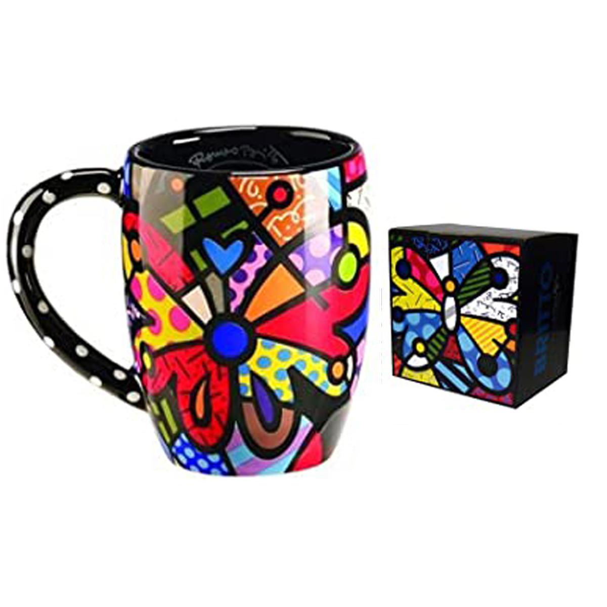 Mug créateur céramique \'Britto\' multicolore (papillon) - 11 cm - [A1965]