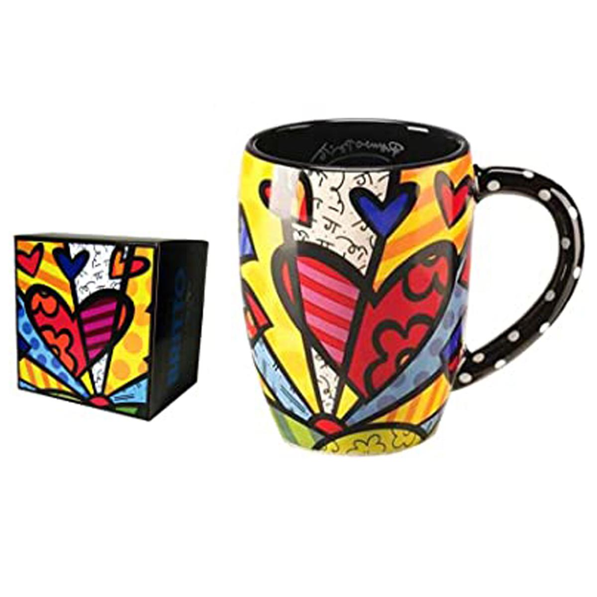 Mug créateur céramique \'Britto\' multicolore (coeur) - 11 cm - [A1966]