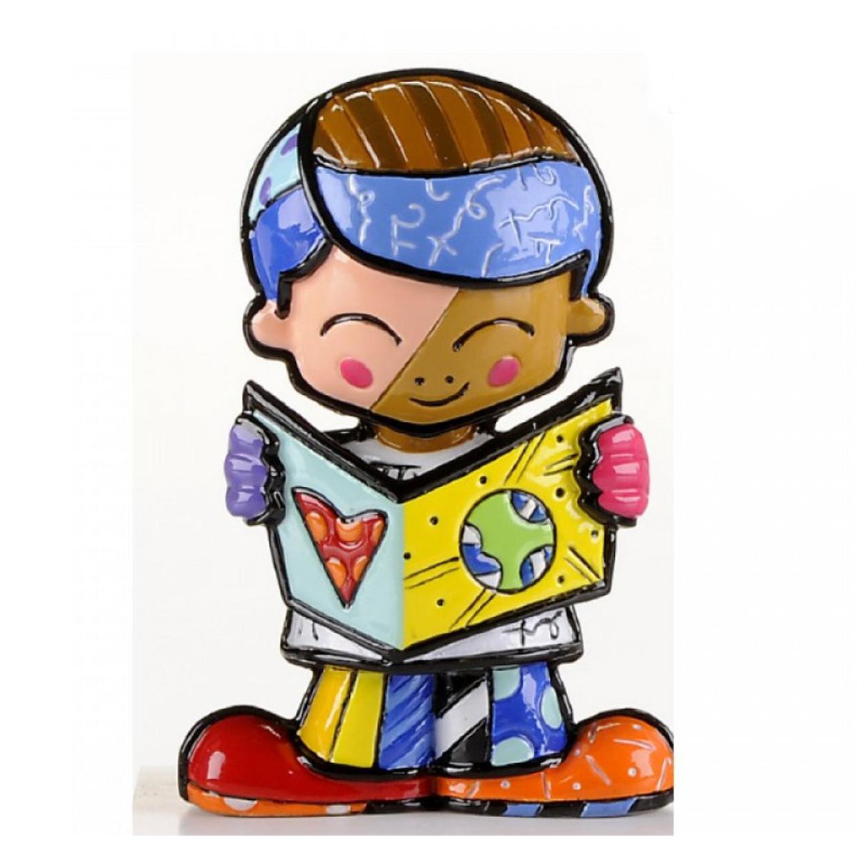 Figurine créateur \'Britto\' multicolore (petit garçon écolier) - 65 mm - [A1969]