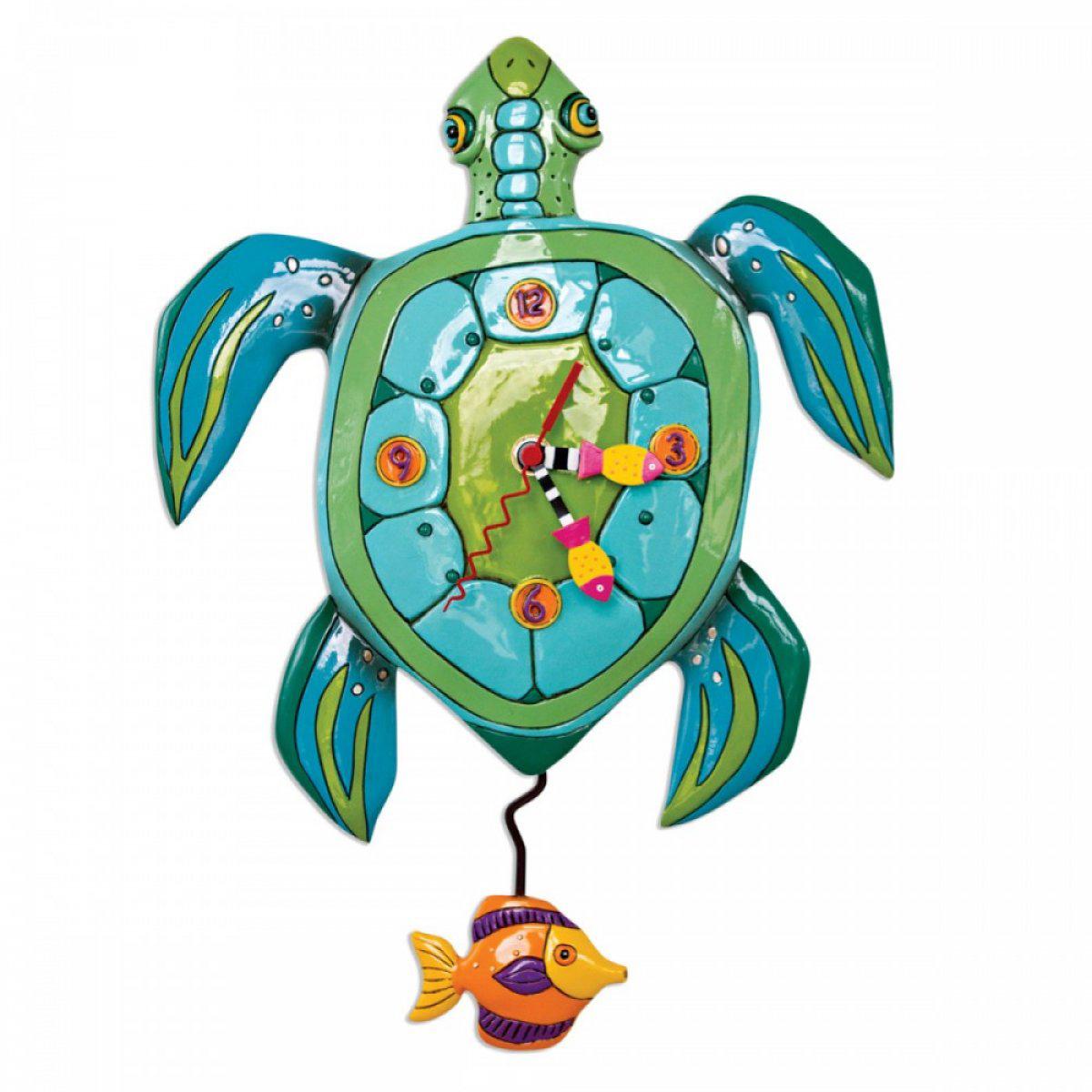 Horloge Murale \'Allen Designs\' turquoise (tortue) - 35x25 cm - [A1979]