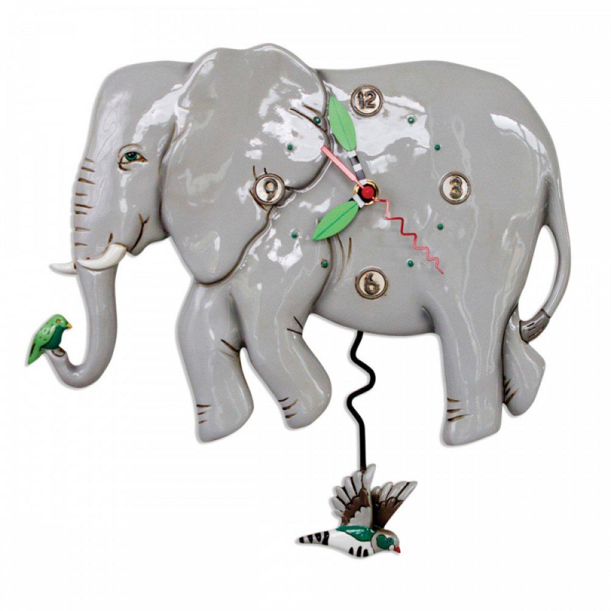 Horloge Murale \'Allen Designs\' gris (éléphant) - 36x20 cm - [A1980]
