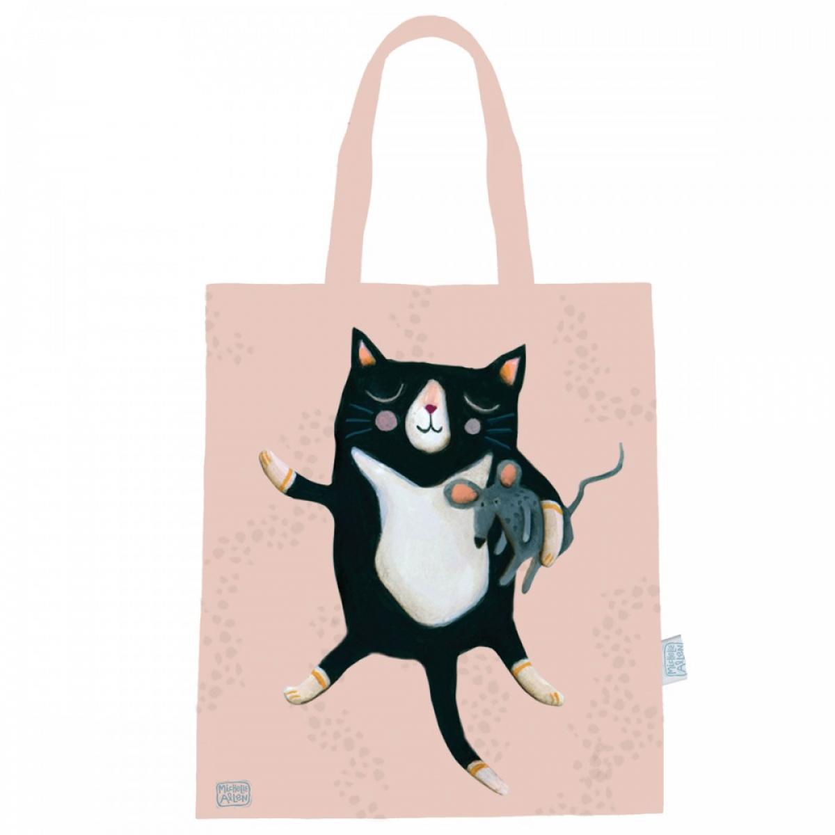Sac coton / tote bag \'Allen Designs\' rose (chat) - 44x38 cm - [A1988]