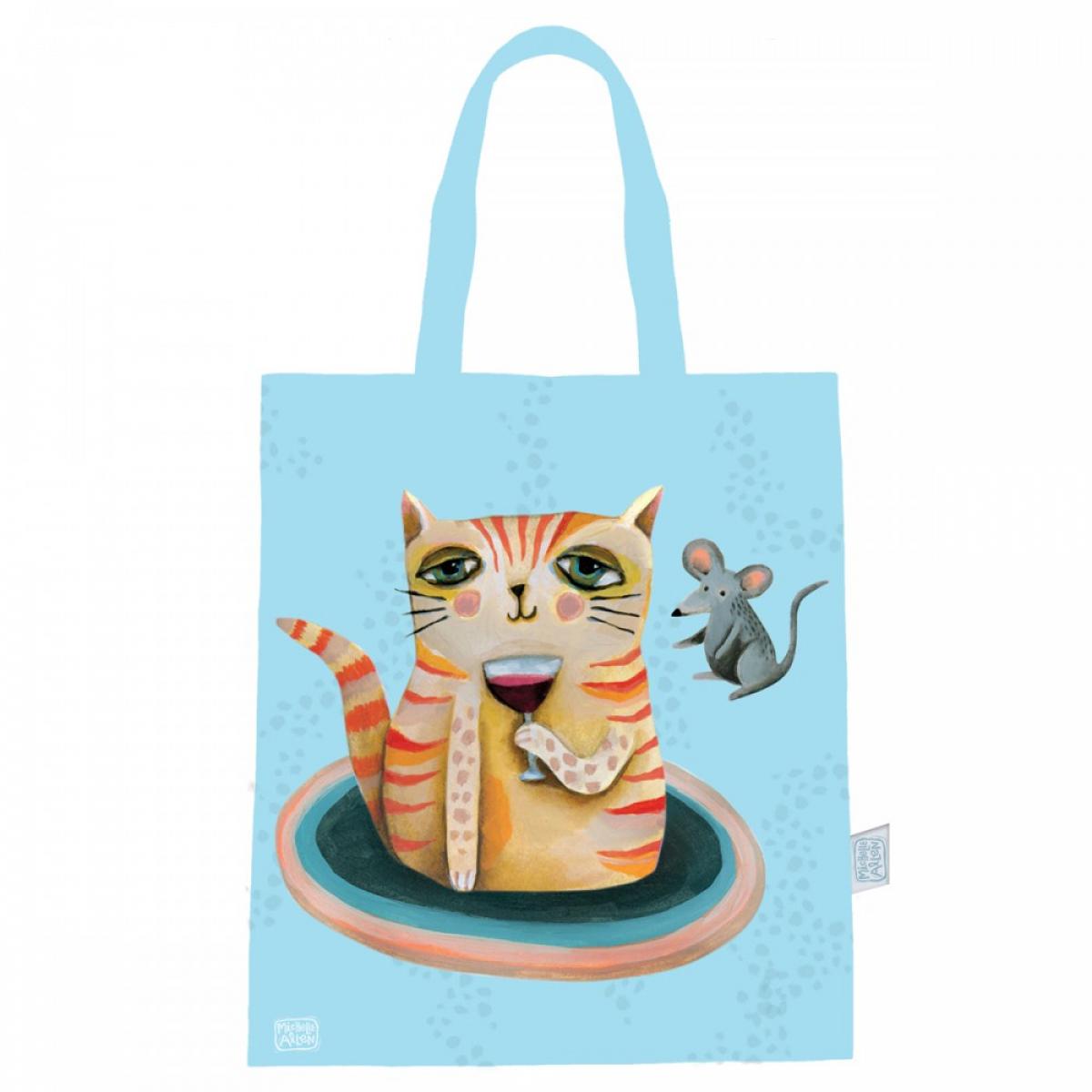 Sac coton / tote bag \'Allen Designs\' bleu (chat) - 44x38 cm - [A1989]