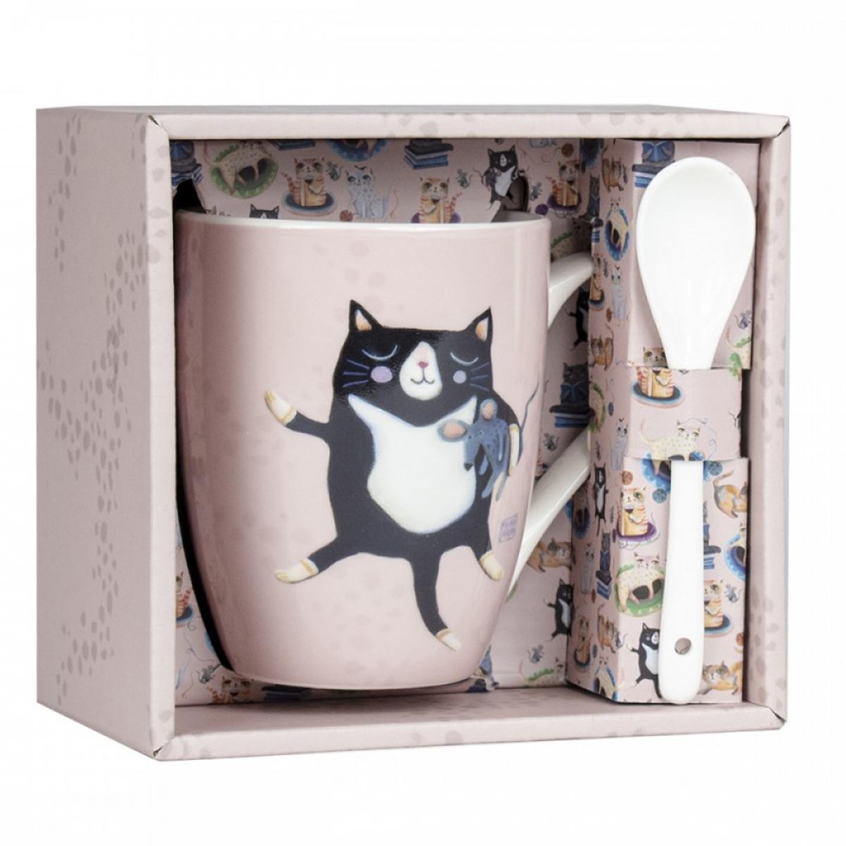 Mug porcelaine + cuillère \'Allen Designs\' rose (chat) - 105x80 mm - [A1991]