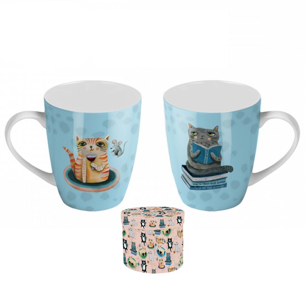 Coffret mug porcelaine \'Allen Designs\' bleu (chat) - 8x10 cm - [A1992]