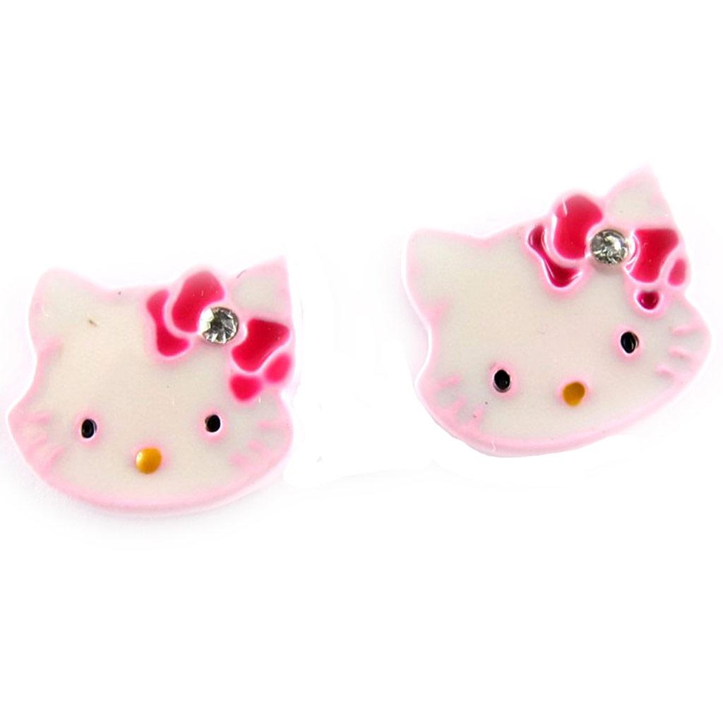 Boucles Créateur \'Charmmy Kitty\' blanc rose - 10x13 mm - [K8033]