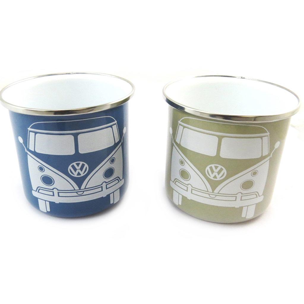 2 mugs créateur \'Volkswagen\' bleu gris - 85x82 mm - [N4535]