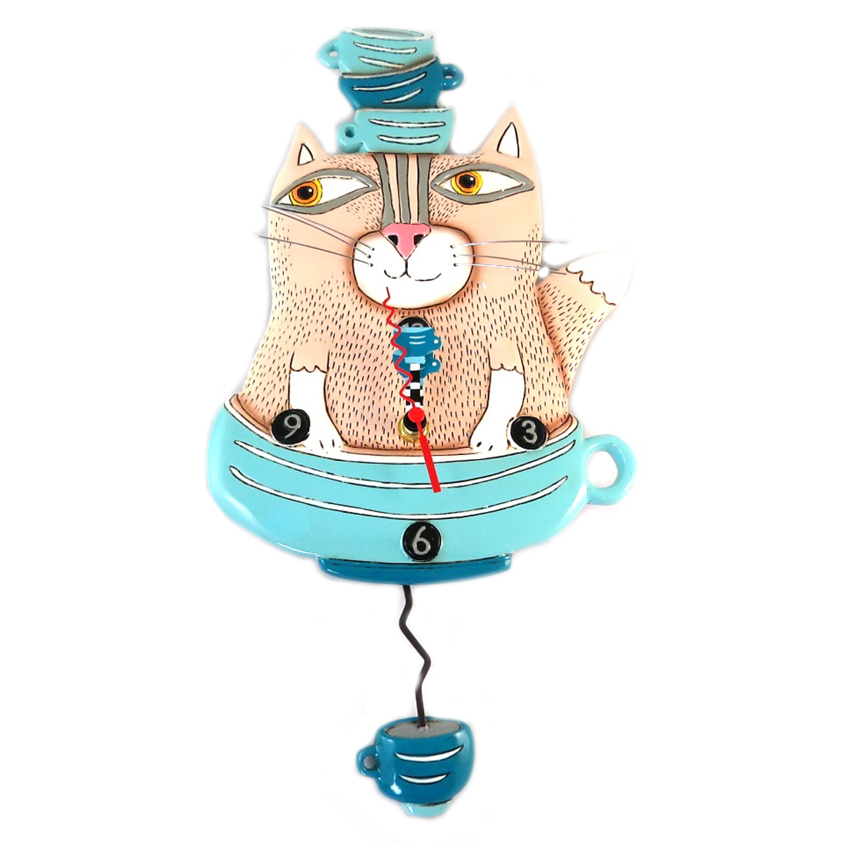 Horloge Murale \'Allen Designs\' beige turquoise (chat et tasses) - 36x19 cm - [P9087]
