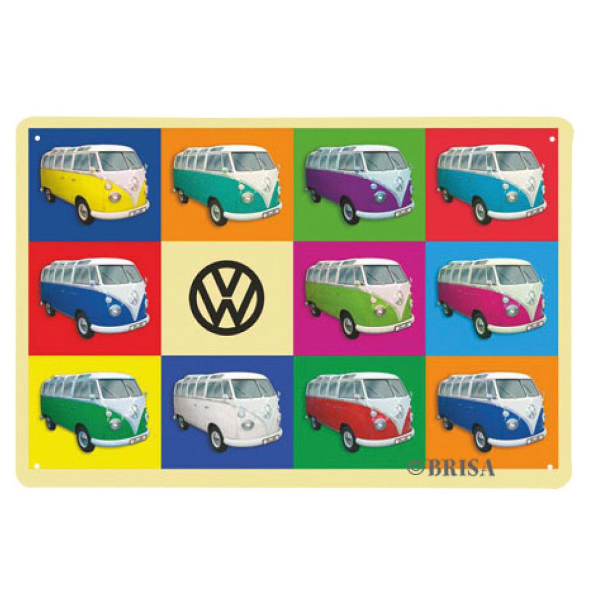 Plaque métal vintage \'Volkswagen\' multicolore - 30x20 cm - [Q1833]