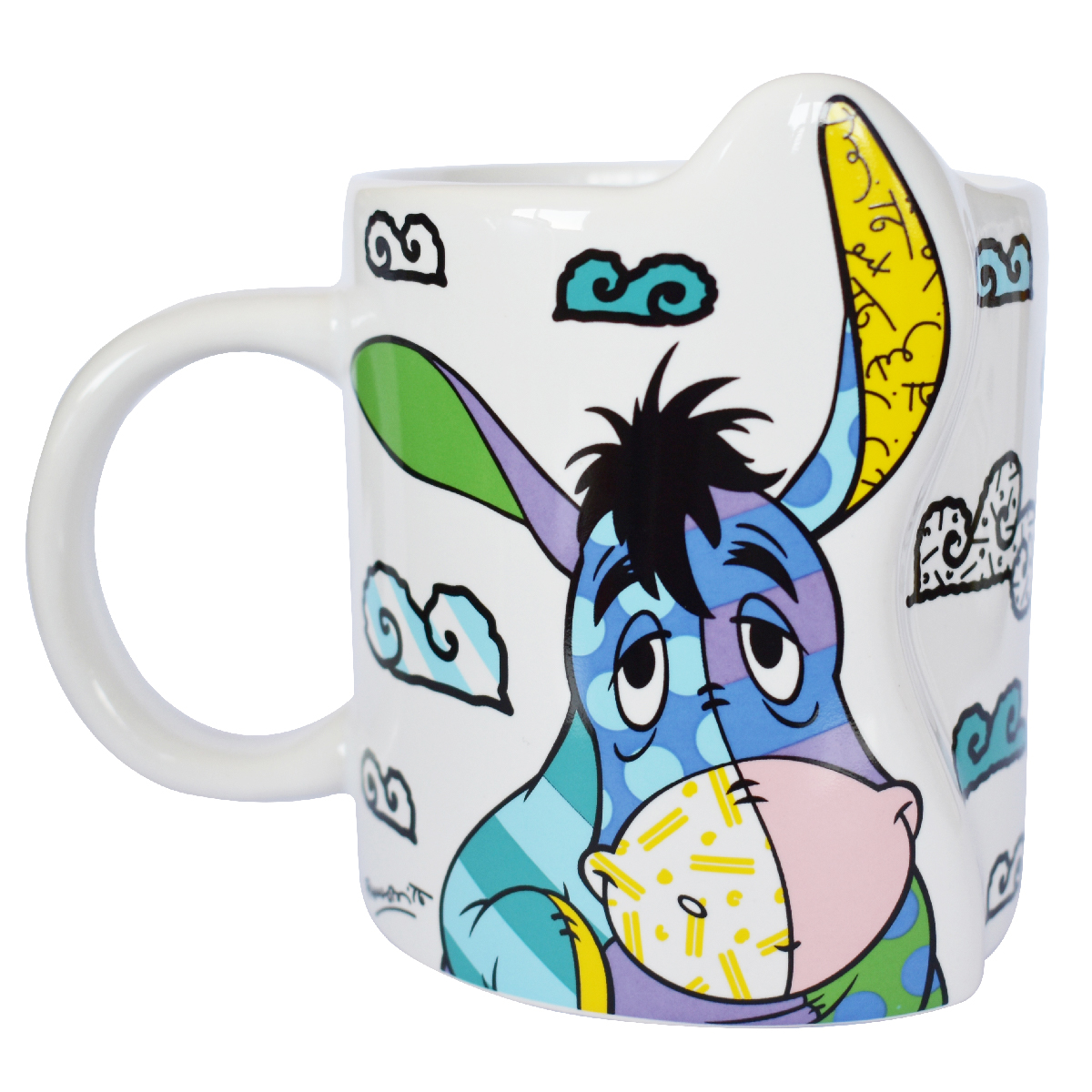 Mug céramique \'Bourriquet\' multicolore (Britto) - 95x80 mm - [Q3772]