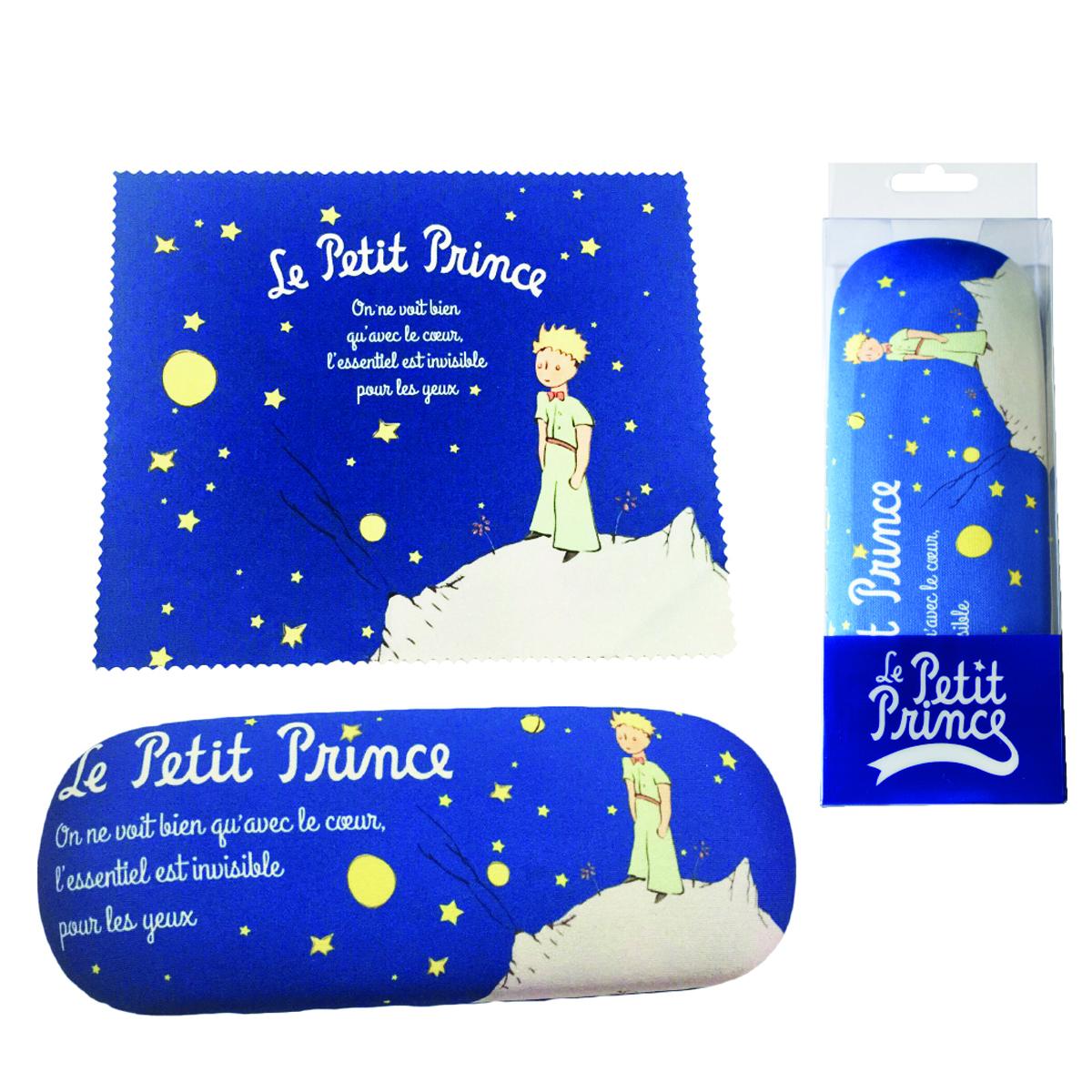 Etui à lunettes créateur \'Le Petit Prince\' bleu marine - 16x6 cm - [Q3786]