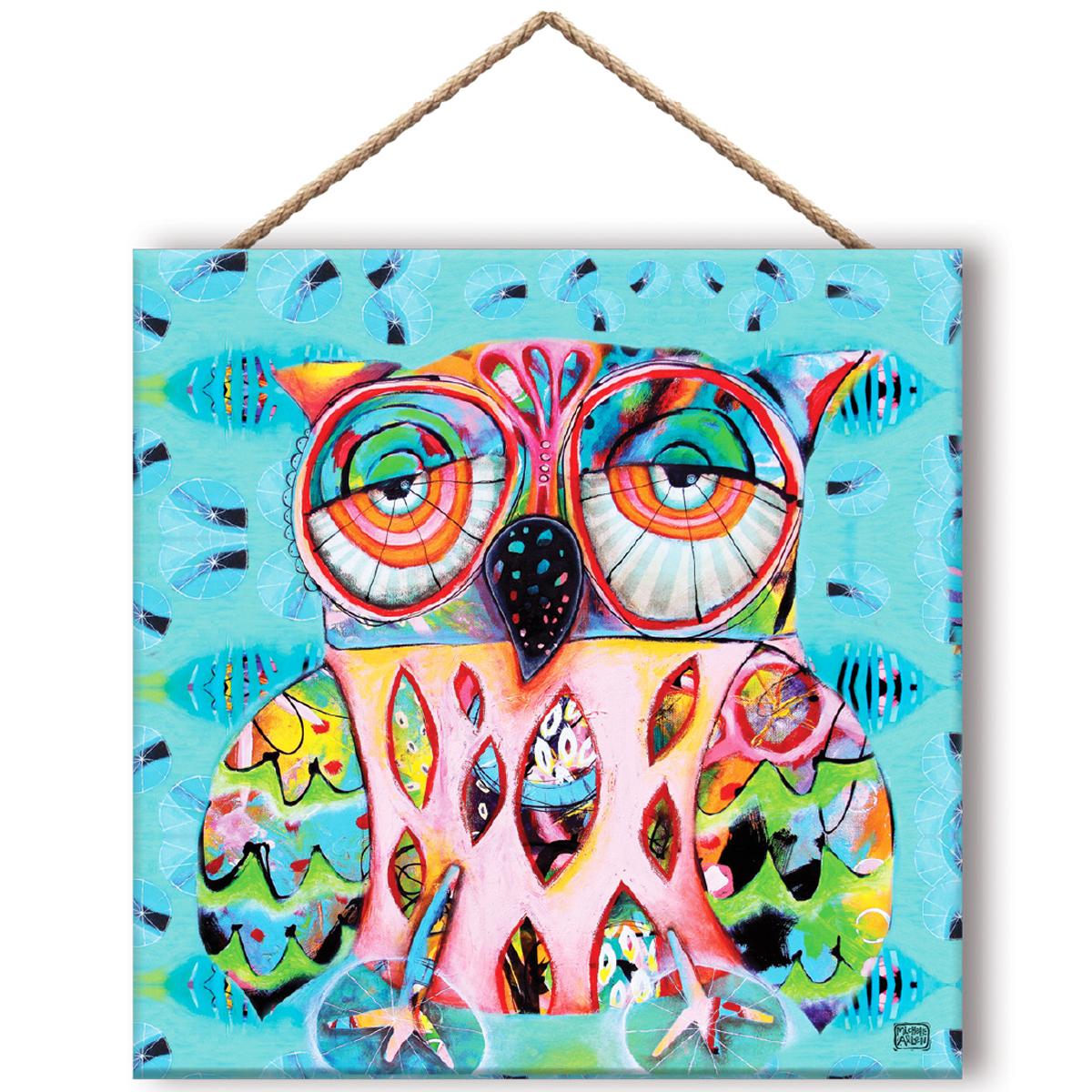 Cadre panneau bois \'Allen Designs\' multicolore (Chouette) - 195x195 cm - [Q8307]