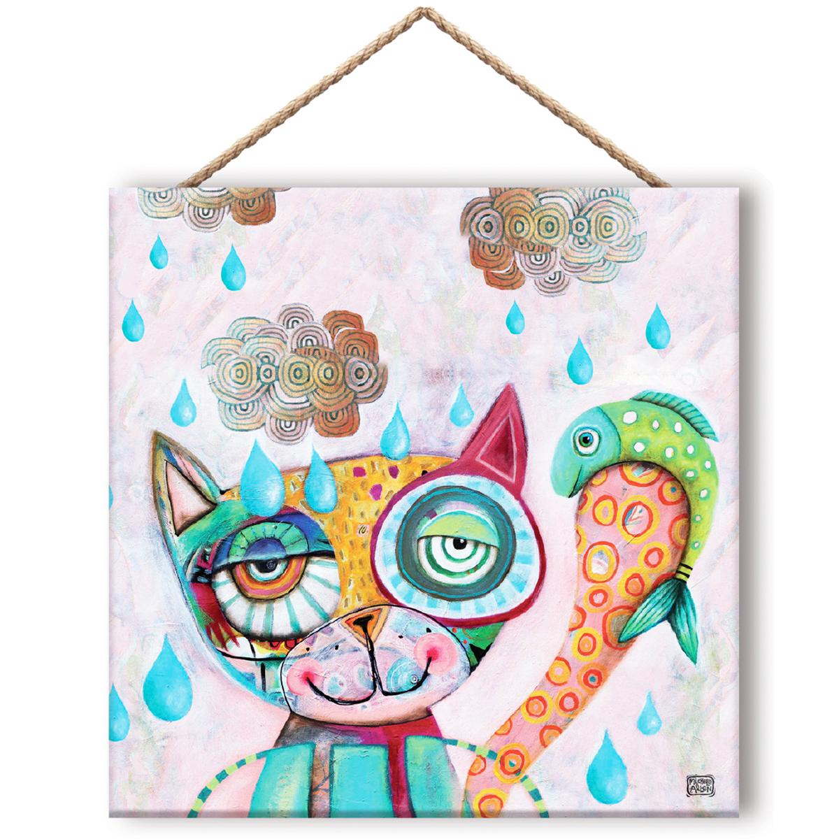 Cadre panneau bois \'Allen Designs\' multicolore (Chat) - 195x195 cm - [Q8308]