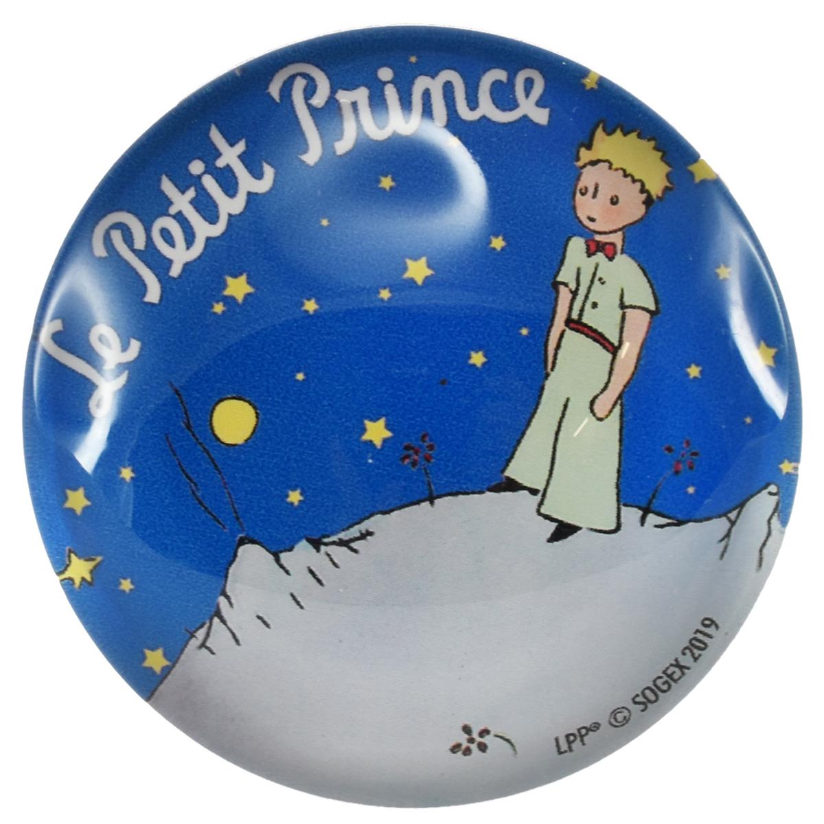 Magnet verre \'Le Petit Prince\' bleu (nuit étoilée) - 5 cm - [Q9027]
