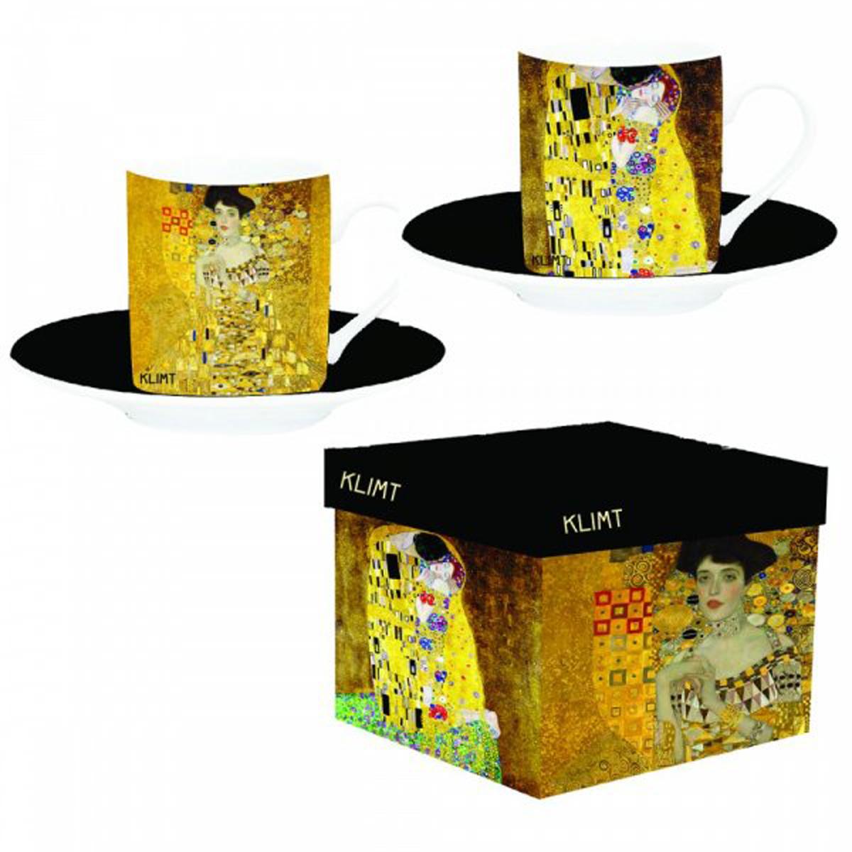 Coffret 2 tasses à café porcelaine \'Gustav Klimt\' - tasse 6x5 cm - [R1967]